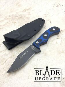 TOPS Delta Unit Fixed Tactical Gray Finish Blade Knife Black G10 Handles DEUT03