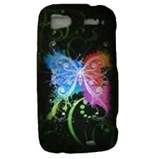 For HTC Sensation 4G Rubberized Protector Snap on Phone Cover Rainbow Butterfly