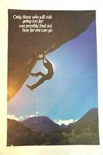 Vintage 1980s Wall Poster Argus Free Climb Rock Climbing Decor 14x21