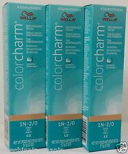 WELLA Color Charm Hair Demi Permanent 1N-2/0 Black 2oz (3PCS)