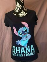 Disney Ohana Means Family Lilo & Stitch T Shirt Junior Navy Blue Juniors XXL/19