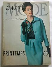 L'ART ET LA MODE Magazine Haute Couture Printemps 1963 Collector VINTAGE 1960
