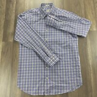 Peter Millar Gingham Sport Shirt Size M Crown Purple Black Blue Check Cotton