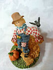 Home Interiors/Candle Topper/Fall Farm Scarecrow in Overalls & Blackbird/ New