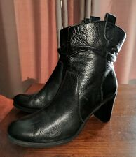 JOAN & DAVID BUTTERY SOFT SLOUCH HIGH HEEL ANKLE BOOTS BIKER 8 M BLACK MOTO RUCH