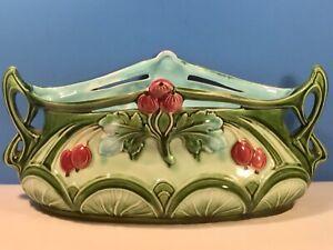 Antique Art Nouveau Cherries and Leaves Jardiniere Planter c.1890-1910
