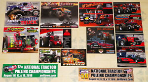 """12"" DIFFERENT ""MONSTER TRUCK/TRACTOR PULLING"" RACING HANDOUTS+2 BUMPER STICKERS"