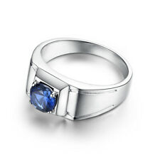 Approx 6.0g Sterling Silver 925 Artificial Sapphire 6mm Round Generous Ring
