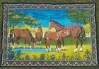 WALL ART VTG 70S? HORSES RN 19963 MADE IN Turkey BIG LARGE TAPESTRY