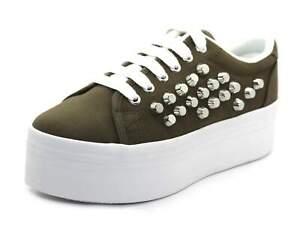 JC Play Womens Khaki Silver White Zomg Studs Canvas Platform Shoes