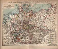 Landkarte map 1901: POLITISCHE ÜBERSICHTSKARTE DES DEUTSCHEN REICHS.