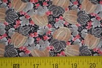 8874-50 B668 RJR//Beyer//Summer Lily Red on Black Quilting Cotton By 1//2 Yd
