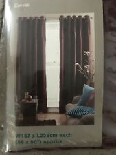 """BNIB Pin tuck Canvas Curtains. Lined. 66""""x90"""". Homebase. Berry. Ring Top. £50"""