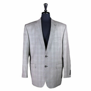 Ralph Lauren Mens Blazer Wool Silk Black Plaid Check Sport Coat Suit Jacket 44R