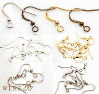 French Hook Earring Findings Ear Wire Hooks Brass Silver Gold Plated 100pcs