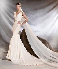 Pronovias St. Patrick Orville Crepe Mermaid GEMSTONE Wedding Gown Dress Sz 10