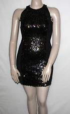 NEW K-DASH by Kardashian Size 10 BLACK Sequin Dress with Knit Side Panel