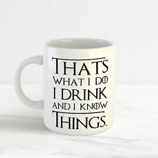 Bebo y sé que las cosas-Tyrion, juego de tronos, gracioso Taza Taza, Regalo Perfecto