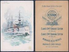 "Cruiser ""Newark"" USN CLARK'S Victorian Trade Card (creased) WWI, MEDICINE"