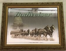 VINTAGE BUDWEISER BEER MIRROR CLYDESDALE HORSES CAPITOL BUILDING SIGN