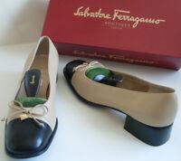 SALVATORE FERRAGAMO Nude Blue Gold Pumps Ballet Court Shoes Size US 7.5 EU 38
