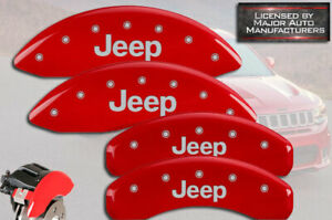 "2011-2021 ""Jeep"" Grand Cherokee Front + Rear Red MGP Brake Disc Caliper Covers"