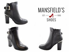 Ankle boots Black with Gold Buckle Faux Leather Block Heel size 8 UK 41 EU