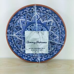 Tommy Bahama Olympus Mosaic Tile Dinner Plates Melamine Blue Terracotta Set of 4