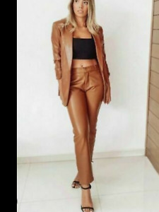 BNWT ZARA Brown Camel Faux Leather Trousers Size UK 18