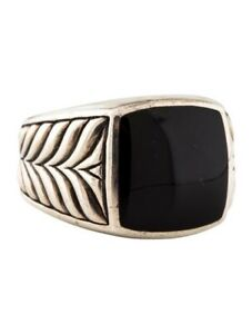 David Yurman Chevron Signet Ring w/ Black Onyx - 10.5