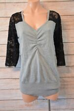 CROSSROADS top jumper size 16 large grey black lace sleeves