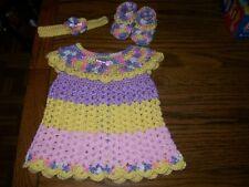 Handmade Crochet Baby Girl Dress Set.Multi-Color, fits approx.3-6 mo.