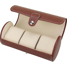 NEW Gift Brown PU Leather 3-slot Watch Storage Case Bag Watch Box Travel Pouch