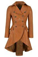 EDWARDIAN Ladies Real Leather Jacket Tan Lambskin Back Buckle Gothic Coat 3491