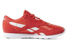 Reebok Classic Nylon Mens Red Suede & Nylon Low Top Sneakers Shoes Men's