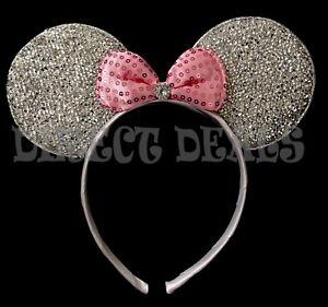 Minnie Mouse Princess Headband Sparkly Rhinestone Silver Ears Pink Bow Birthday