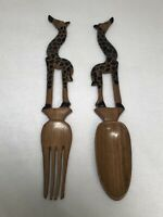WOODEN HAND CARVED GIRAFFE SALAD & FORK TONGS AFRICAN COLLECTIBLES