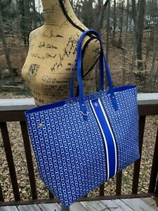NWT Tory Burch Gemini Link XL Coated Canvas Tote Beach Shopper Jewel Blue-$298