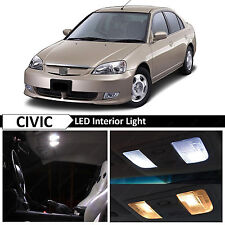 White Interior LED Light Package Kit 2001-2005 Honda Civic Sedan Coupe + TOOL