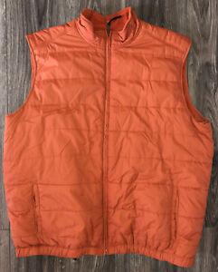 Reversible Orange Golf Puffer Full Zip Vest Jacket Men's XXL / 2XL Greg Norman