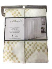"Threshold Target New Kana Tan White Curtain Set 84"" Light Filtering 2 Panels"