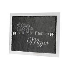 Schiefertafel Türschild mit Acrylglas inkl. Gravur Motiv Strichmännchen Familie