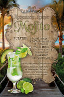 Mojito Cocktail Rezept Letrero de Metal Arqueado Tin Sign 20 X 30CM
