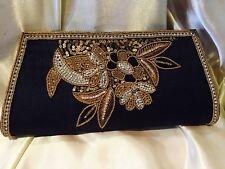 Black Gold Handbag Clutch Wallet Bollywood Indian Dress Purse Silk Diwali