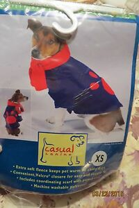 NEW ADORABLE CASUAL CANINE BLUE & RED FLEECE DOGGIE JACKET & SCARF SET SZ XS