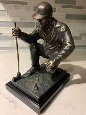 Vintage Heavy Bronze Metal Art Sculpture Statue Male Golfer Putter
