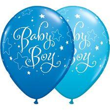 Baby Girl blue stars latex balloons x 5