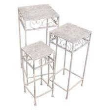 Metall Blumenhocker Blumensäule Beistelltisch Shabby Tisch antikweiß eckig