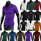 Stylish Mens Short Long Sleeve Lapel Polo Shirt Casual Cotton Work T-shirtS TopS