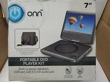 """Onn Portable DVD Player Kit, 7"""".Built-in stereo speakers."""
